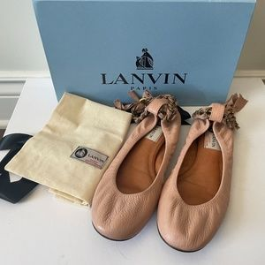 Lanvin  Pink Leather Chain Ankle Strap Ballerina